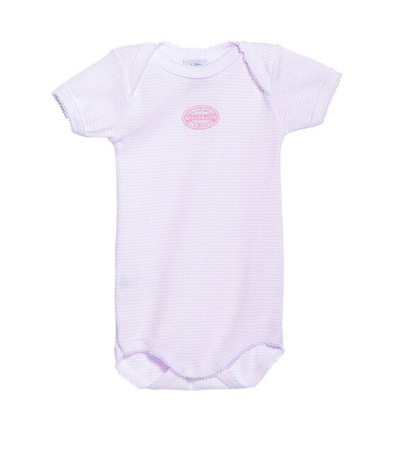 Body bebé bambina maniche corte millerighe rosa Vienne / bianco Ecume