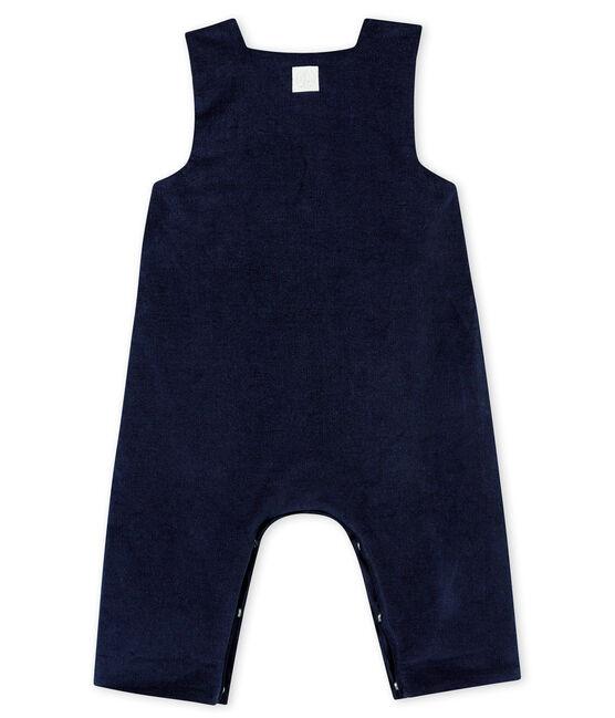 Salopette in velluto sottile per bebé maschio blu Smoking