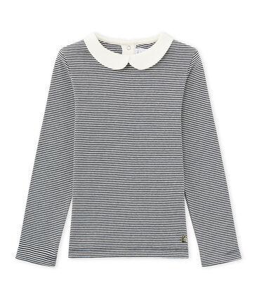 T-shirt maniche lunghe millerighe blu Smoking / bianco Marshmallow