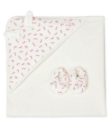 Cofanetto asciugamano quadrato da bagno e babbucce bebè in spugna e a costine bianco Marshmallow / rosa Groseiller
