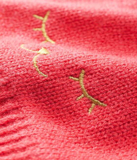 Cappellino bebè femmina foderato in pile rosso Signal