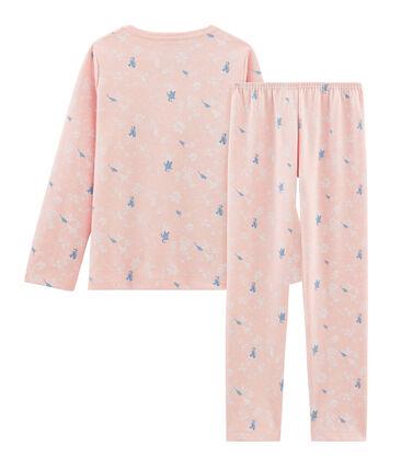 Pigiama bambina in molleton rosa Minois / bianco Multico