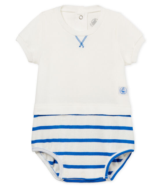 Tutina corta bebè maschio bianco Marshmallow / blu Cool