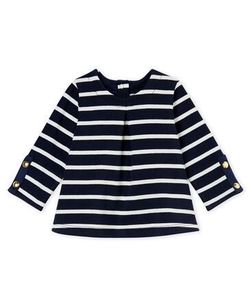Blusa per bebé femmina rigata blu Smoking / bianco Marshmallow