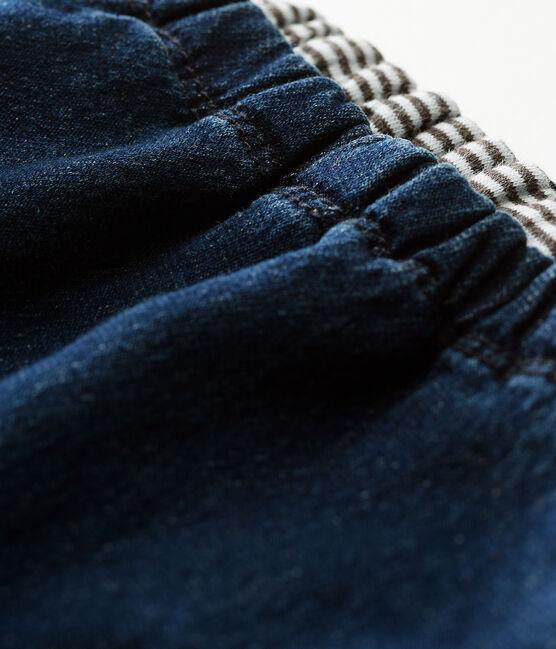 Pantalone bebè unisex doppiato in maglia effetto denim blu Denim Bleu Fonce
