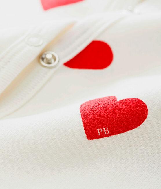 Tutina a cuori rossi bebé femmina in molleton bianco Marshmallow / rosso Terkuit