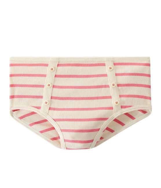 Culotte alta a costine 2x2 beige Coquille / rosa Petal