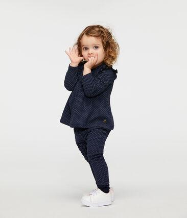 Blusa a manica lunga bebè femmina in fantasia blu Smoking / bianco Marshmallow
