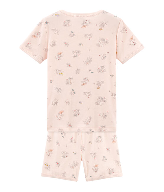 Pigiama corto bambina a costine modello molto aderente rosa Fleur / bianco Multico