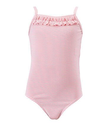 Costume da bagno bambina intero rigato rosa Petal / bianco Marshmallow