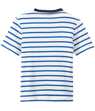 T-shirt bambino rigata stampata bianco Marshmallow / blu Perse
