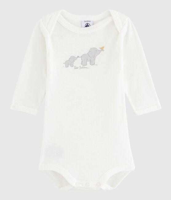 Body manica lunga bebè unisex bianco Lait