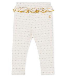 Leggings da bebè femmina con balze bianco Marshmallow / giallo Or