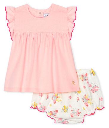 Completo due pezzi bebè femmina rosa Minois / bianco Multico