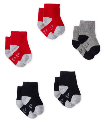 Confezione da 5 paia di calzini basici bebè maschio blu Smoking / rosso Terkuit