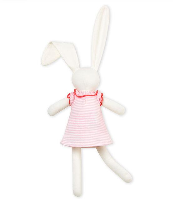 Doudou coniglio vestito rosa Vienne / bianco Marshmallow
