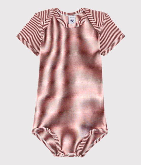 Body a manica corta bebè unisex rosso Carmin / bianco Marshmallow