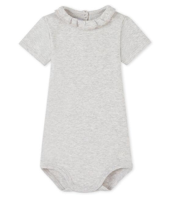 Body con colletto rotondo arricciato bebè femmina grigio Beluga