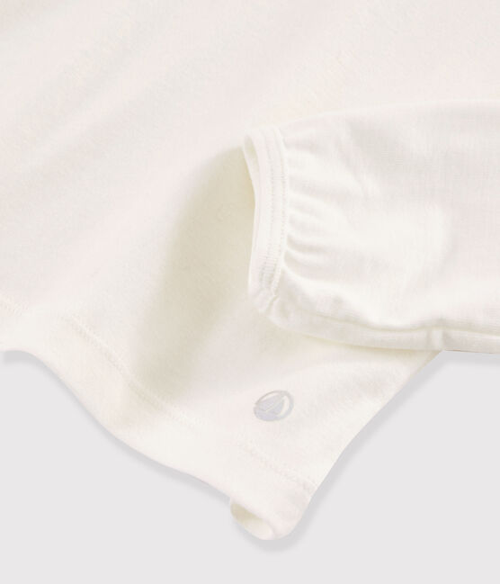 T-shirt con scollo bambina bianco Marshmallow