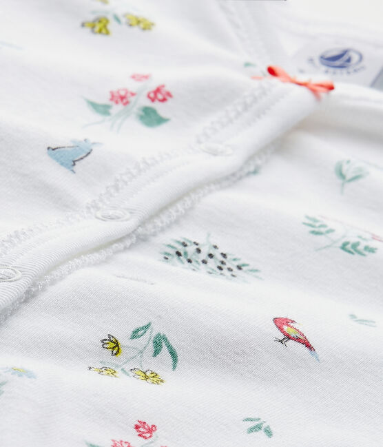 Tutina senza piedi bebè bambina stampata bianco Ecume / bianco Multico
