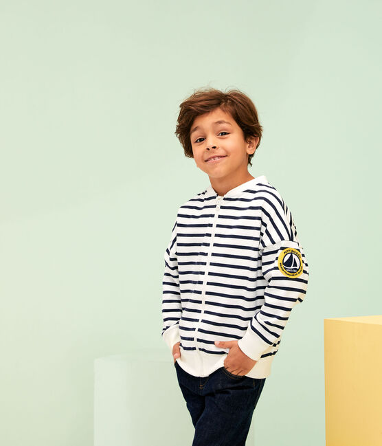 Cardigan bambino bianco Marshmallow / blu Smoking