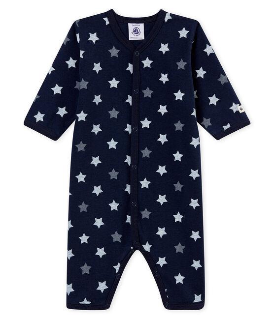 Tutina senza piedi per bebé maschio blu Smoking / bianco Multico