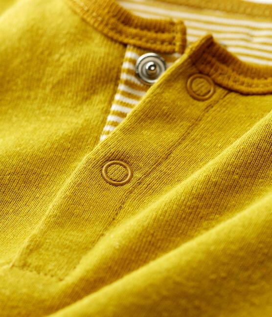 Tutina corta bambino in cotone/lino giallo Bamboo