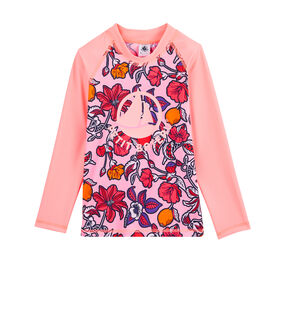 T-shirt anti-UV UPF 50+ ecoresponsabile bambina rosa Patience / bianco Multico