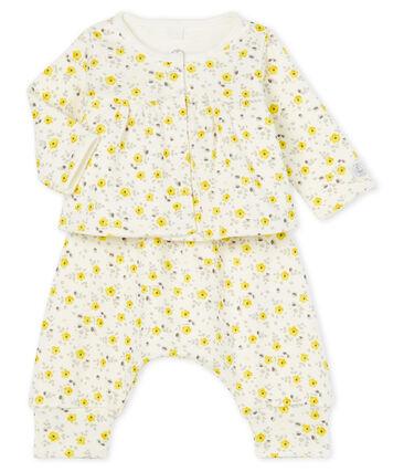 Completo tre pezzi bebè femmina in lana e cotone bianco Marshmallow / bianco Multico