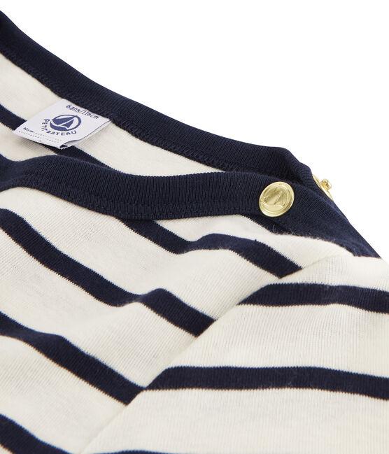 Vestito bimateriale bambina beige Coquille / blu Abysse