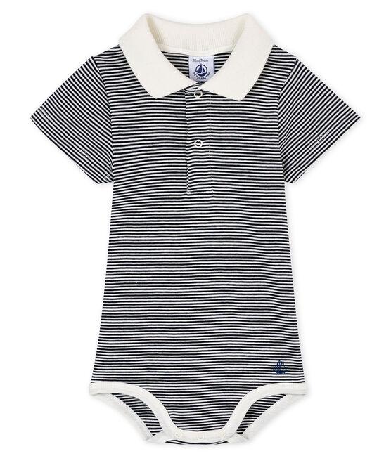 Body con colletto a polo rigato bebè maschietto blu Smoking / bianco Marshmallow