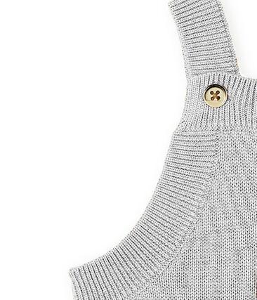 Salopette lunga bebè maschio in tricot di lana, nylon e alpaca. grigio Montelimar Chine