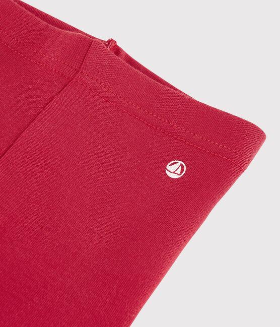 Leggings bebè femmina a costine 1x1 in tinta unita rosso Terkuit