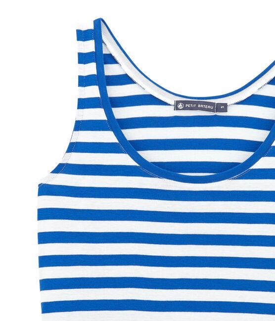T-shirt da spiaggia blu Perse / bianco Marshmallow