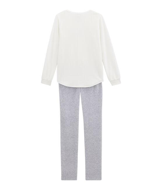 Pigiama per bambina bianco Marshmallow / grigio Poussiere