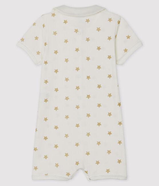 Tutina corta bebè a costine bianco Marshmallow / giallo Or