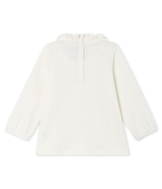 Blusa a manica lunga bebè femmina a tinta unita bianco Marshmallow Cn