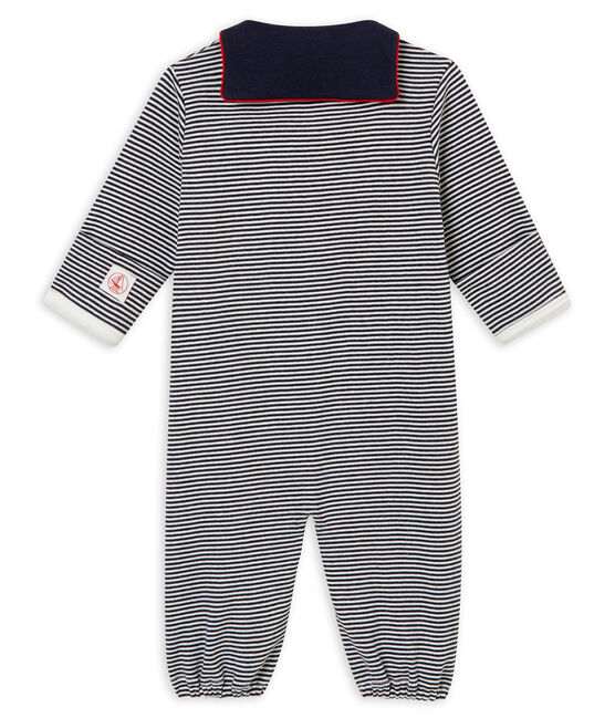 Combisac per bebé maschio a costina 1x1 millerighe blu Smoking / bianco Marshmallow