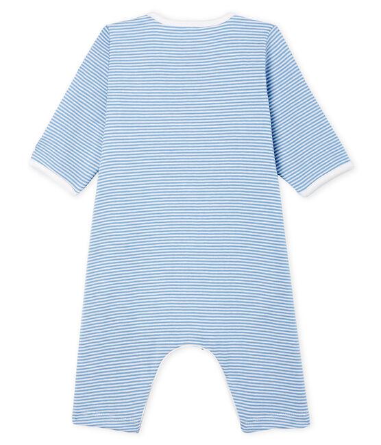 Bodyjama senza piedi bebè femmina a costine blu Acier / bianco Marshmallow