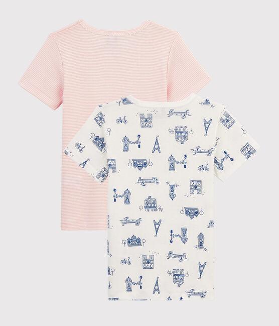 Confezione da 2 t-shirt manica corta fantasia Parigi da bambina lotto .