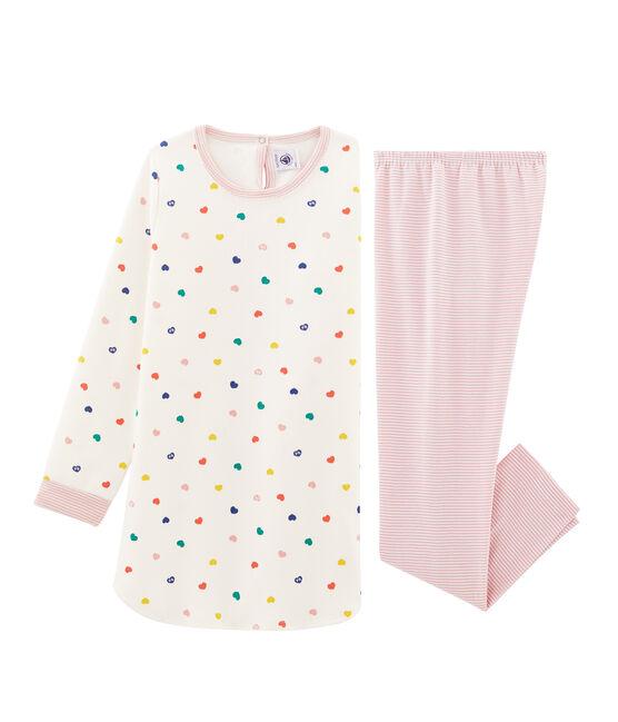 Camicia da notte a manica lunga con cuori bambina in jersey double face bianco Marshmallow / bianco Multico