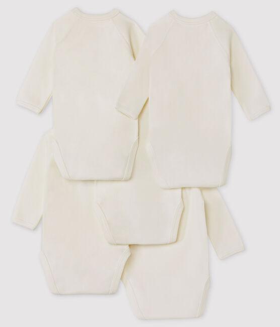 Confezione da 5 body bianchi incrociati manica lunga bebè in cotone biologico lotto .