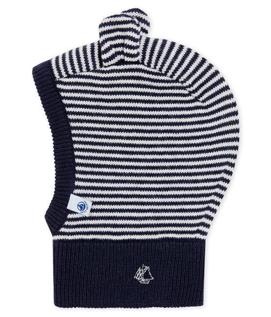 Passamontagna bebè unisex blu Smoking / bianco Marshmallow