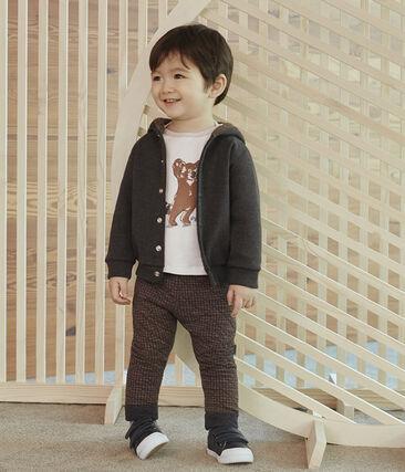 Felpa con cappuccio bebè maschio a costine in elastam grigio City Chine
