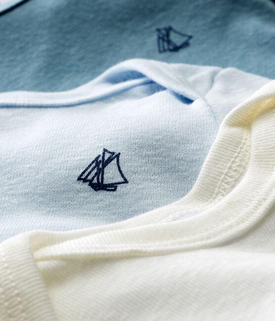Trio body manica corta bebè maschietto in cotone e lino lotto .
