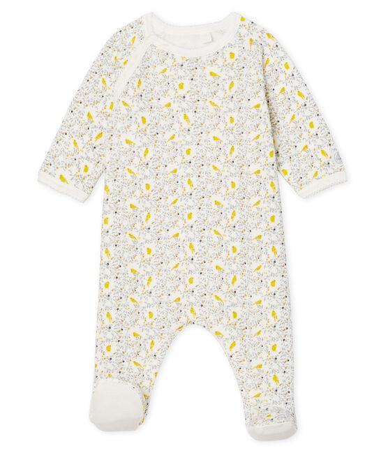 Tutina pigiama bebè femmina in spugna bouclette grattata super calda bianco Marshmallow / bianco Multico