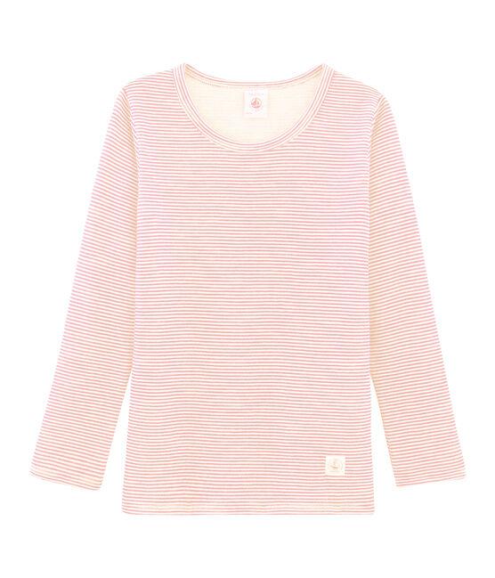 T-shirt a maniche lunghe in lana e cotone da bambino rosa Charme / bianco Marshmallow