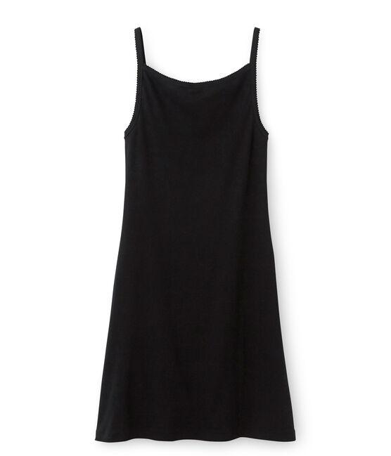 Chemise à bretelles femme coton/laine/soie nero Noir