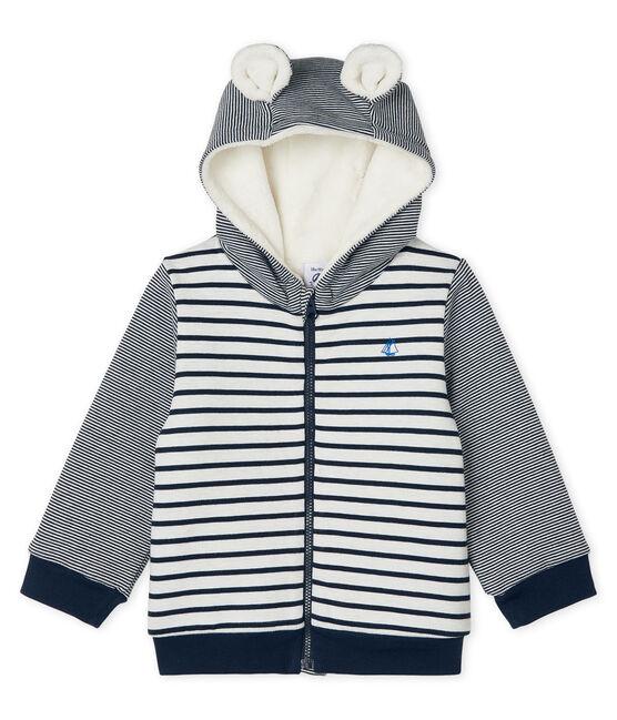 Felpa con cappuccio bebè maschio a righe marinare doppiata in lana sherpa bianco Marshmallow / blu Smoking Cn