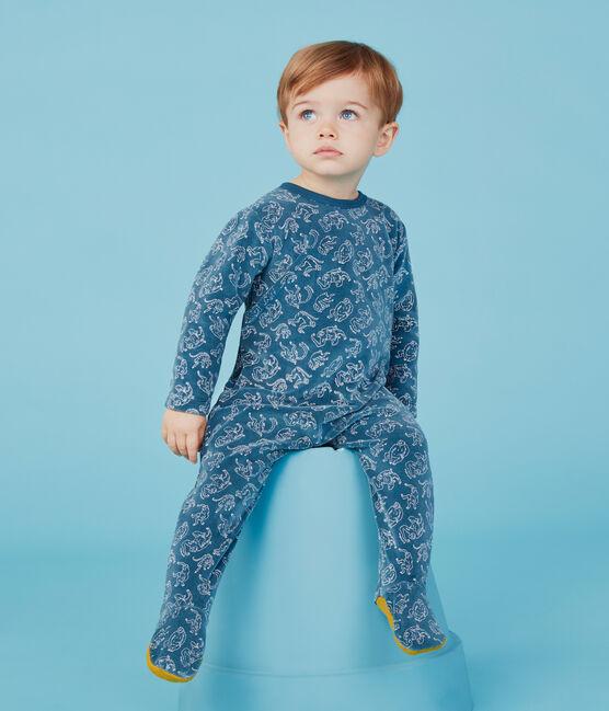 Tutina bebè maschio in cotone blu Shadow / bianco Marshmallow